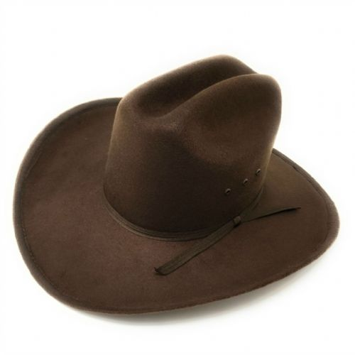 Brown Cowboy Hat - Felt with ribbon band - Rough Rider